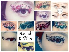 Set of 16 Pairs Temporary Tattoo Transfer Stickers Makeup for Eyes Eyelids Flower Laced for Dance Clubbing Party Halloween