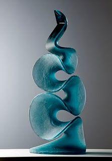 sculptural glass pieces are by artist Vladimira Klumpar