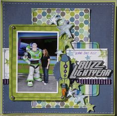 Buzz Lightyear Disney scrapbook page This layout could be used for a ton of pages.