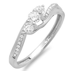 0.50 Carat (ctw) 14k White Gold Round Diamond 3 Stone Ladies Swirl Bridal Engagement Ring 1/2 CT (Size 6) -- You can get more details here : Engagement Ring