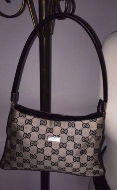 GUCCI Monogram Canvas Logo Tote Handbag Purse Bag Navy Black GG #Gucci #TotesShoppers