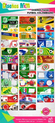 Equipos Futbol Colombiano: Diseños para Mugs Comic Books, Football, Mugs, Football Team, Soccer, Futbol, Tumblers, Cartoons, American Football