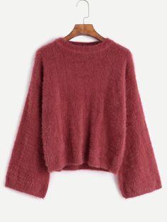 Drop Shoulder Loose Fuzzy Sweater