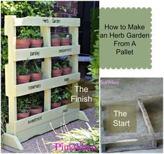 The FULL TUTORIAL on how to make a Pallet Herb Garden. Perfect for small patios and apartments!