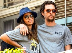 Lovahs Camila Alves and Matthew McConaughey chilled out in New Orleans in shady style! Sleek aviators for her and vibrant orange wayfarers for him!