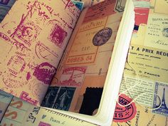 DIY Travelers Notebook Inserts. Front pages are Cavallini & Co papers. Inner pages, Fabriano EcoQua Dot paper.