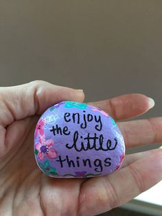 Enjoy the little Things - Hand Painted stone - Beautiful, unique stone This adorable hand painted rock/stone is sure to brighten anyones day! My hand painted rocks/stones are a unique, One-of-a-kind work of art. Each one is hand painted lovingly by me. These adorable little gems