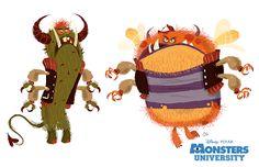 Monsters University Concept Art by Chris Sasaki Walt Disney, Disney Art, Disney Pixar, Character Design Animation, Character Design References, Monsters Ink, Animation Disney, Disney Kunst, Film D'animation