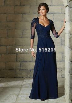2016 Mother Of The Bride Dresses A-Line Floor Length Sleeves Blue Lace Long Evening  Dresses Mother Dresses For Weddings -Special Occasion Dresses-Mother of ... 1e9568c9c7e1