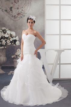 Robe de mariée volante fermeture eclair en organza fleur avec perles