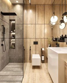 Best Interior, Interior Design, Bathroom Goals, Bathroom Ideas, Bathroom Inspiration, Apartment Door, Suspended Lighting, Deco Design, Hidden Storage