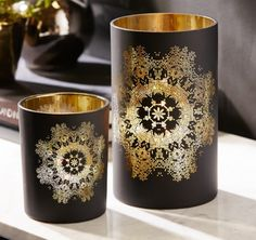 A30607(A) Printed Black and Gold Candleholder