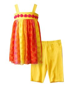 Look at this Youngland Sherbet Mesh Babydoll Tunic & Leggings - Toddler & Girls on #zulily today!