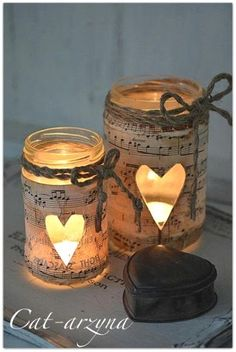 Music Sheets and Mason Jars Luminaries Music sheets never missed to be a party of any of our Christmas decoration ideas