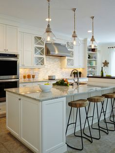 Engaging White Cabinets With Backsplash Decor Ideas in Kitchen Beach design ideas with Engaging hanging glass pendant hutch style cabinets Open cabinets pewter knob stacked oven
