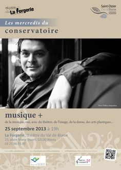 Affiche pour les mercredis du conservatoire : musique+. Mercredi 25 septembre 2013, à Wassy. Création originale.