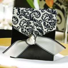 Black & Ivory Damask Favor Boxes (Set of 25) (Hortense B Hewitt 22054) | Buy at Wedding Favors Unlimited (http://www.weddingfavorsunlimited.com/black_ivory_flourish_favor_boxes_set_of_25.html).