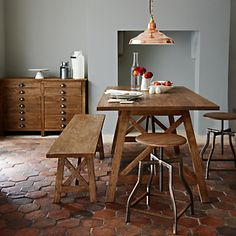 For a rustic kitchen feel why not choose from the John Lewis Ingalls Dining Furniture Range. Deep mango wood meets antique brass to create this striking range filled with timeless pieces for your home. Featuring both hidden and exposed shelving and deep drawers, it provides attractive storage solutions which coordinate beautifully and fit into a range of settings.