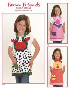 Items similar to Farm Friends - Child's Apron - Cow, Pig, Chicken - Pattern includes size - Cotton Ginny's - These are sew cute! on Etsy Child Apron Pattern, Vintage Apron Pattern, Aprons Vintage, Apron Patterns, Pattern Sewing, Quilt Pattern, Sewing Patterns For Kids, Sewing Projects For Kids, Sewing For Kids