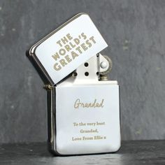 Worlds Best Dad 78 Personalised Engraved Star Lighter In Gift Tin