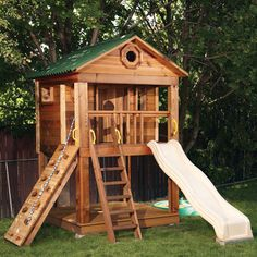 Nice 2 story playhouse, love the porch with ladder and slide