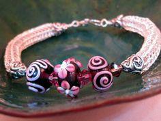 Brown & Rose Lampwork & Swarovski Crystals Wire Viking Knit Bracelet