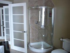 small master bathroom with closet