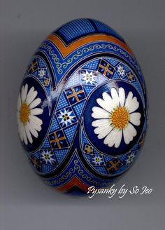 Ромашки Український пасхальне яйце Pysanky настільки Jeo