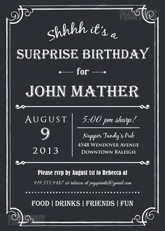How to order 1 choose your invitation type from the drop down adult surprise birthday invite male birthday invitations printable surprise 30th birthday invita filmwisefo