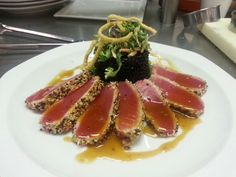 ... tuna... forbidden black rice, asian slaw, with a ponzu sauce!! More