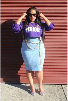 High waist acid jean skirt set | Plus size Fashion Ideas & Outfits ...