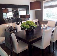 tetszik a hosszú tükör a falon, az alatta lévő szobor, az asztal is jó, a szék túl vilagos, de a formája rendben Ikea Dining Room Furniture, Dining Room Table Sets, Black Dinning Room Table, Mirrors In Dining Room, Ikea Dining Sets, Ikea Dinning Room, Dark Table, Dinner Room Table, White Dining Set