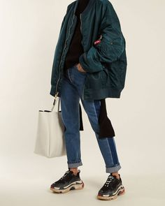 For sale Womens Balenciaga Triple S Trainers Black / Red shoes online Mode Outfits, Fashion Outfits, Womens Fashion, How To Have Style, Casual Chique, Inspiration Mode, Mode Style, Athleisure, Streetwear Fashion