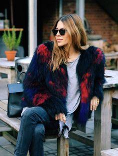 fur jacket, skinny jean