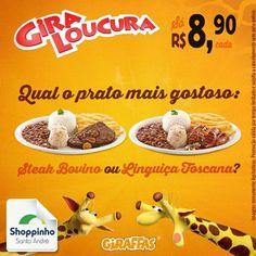 Opa, a gente adora os dois! Mas qual o seu prato favorito?   #Giraffas #Giroloucura #ShoppinhoSantoAndré #fome #almoço #delícia
