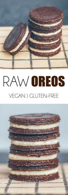 RAW VEGAN & GLUTEN-FREE OREOS Chocolate Cookie 1 cup oat flour (plain rolled oats blended into a flour in the food cup cocoa/cacao tbsp) cup maple syrup (or any other liquid tbsp melted coconut Healthy Vegan Dessert, Raw Vegan Desserts, Raw Vegan Recipes, Vegan Treats, Gluten Free Recipes, Vegan Raw, Healthy Cookies, Raw Vegan Cake, Cookies Vegan