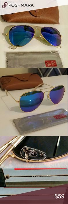 Ray-ban Aviator Blue Mirror Ray ban aviators blue mirror Size medium unisex 58mm In new condition 10/10 No scratches comes with everything 100% Authentic  Ships out same day before 6pm :) Make an offer =) Ray-Ban Accessories Sunglasses