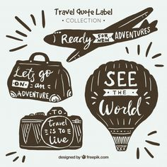 Hand drawn vintage travel quote labels collection free vector my freepik на Travel Sticker, Travel Clipart, Travel Doodles, Vintage Travel Themes, Ft Tumblr, Drawing Quotes, Tampons, Printable Stickers, Beach Trip