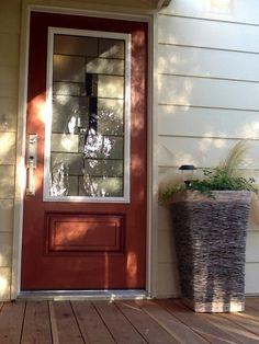 Hand painted metallic copper door finish