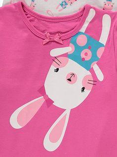 Rabbit Print Pyjama Multipack   Kids   George at ASDA Asda, Kids Online, Nightwear, Princess Peach, Whimsical, Rabbit, Applique, Pajamas, Embroidery
