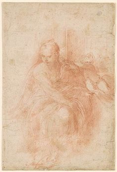 Parmigianino | Seated Virgin with Child Above to the Right | Drawings Online | The Morgan Library & Museum