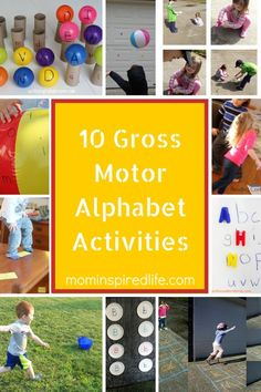 10 Active Alphabet Activities for kids. Play-based activities for letter learning.