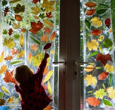 Autumn Leaf Window - Family Days Tried And Tested Harvest Activities, Autumn Activities For Kids, Art Activities, Pva Glue Crafts, Leaf Crafts, Autumn Crafts, Nature Crafts, Autumn Display Boards, Autumn Trees