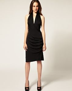 Enlarge Vero Moda Very Gathered Halter Neck Dress. Do I really need another black dress? But this is silk and classic...