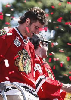 stanley cup parade / Brandon Saad. --- so sad that blackhawks traded Saad. Gonna miss him.