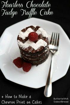 Flourless Chocolate Truffle Cake + How To Make a CHEVRON Print on Cakes! #glutenfree #chocolatecake #butter