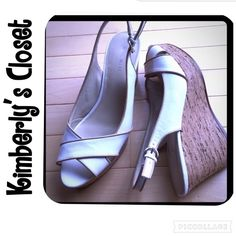 ✨NINE WEST cork wedges✨ NINE WEST cork/platform wedge sandal.  White leather sling back upper with tan trim.  Only worn a couple of times - very slight signs of wear (see photos).  Great condition. Nine West Shoes Wedges