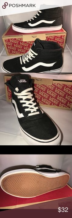 New VANS Hi Milton Black SNEAKERS High tops NIB Mint in box, Vans Milton Hi top women's size 8. Black and white canvas style. Hot new style this season. I purchased for daughter, she tried on, but she wants the guys shoe! Retails for $80.00 Comes from smoke and pet free home. Vans Shoes Sneakers