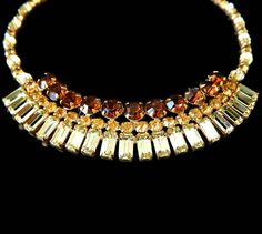 Kramer Rhinestone Necklace Signed Rootbeer by EclecticVintager