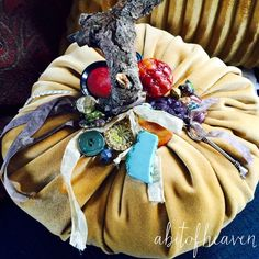 A personal favorite from my Etsy shop https://www.etsy.com/listing/254438793/large-velvet-pumpkin-with-vintage